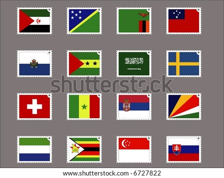 stamp flag09 - stock vector