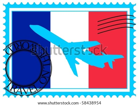 "Stamp ""France (Paris), travel by plane on the world"" vector eps10 - stock vector"