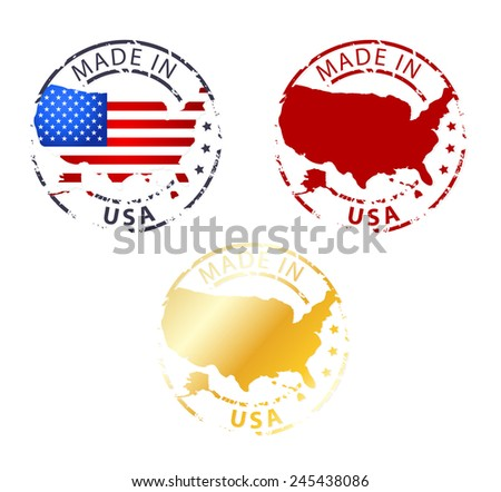 Stamp Made in USA - stock vector