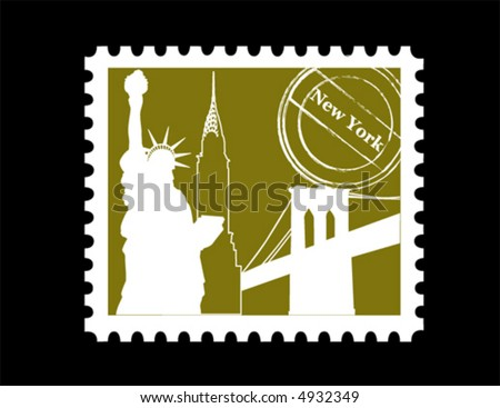 Stamp, New York - stock vector
