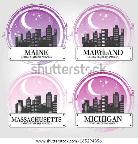 Stamp of 4 american countries - stock vector