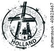 Stamp of windmill in Holland - stock vector