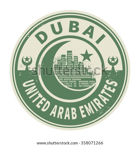 Stamp or emblem with text Dubai, United Arab Emirates inside, vector illustration