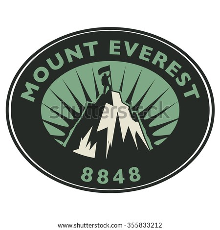 Stamp or emblem with text Mount Everest, vector illustration - stock vector
