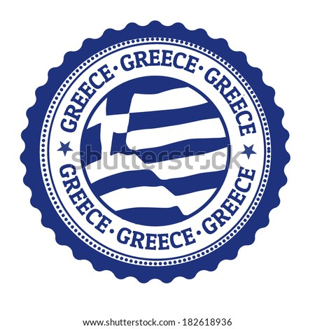 Stamp or label with Greek Flag and the word Greece written inside, vector illustration - stock vector
