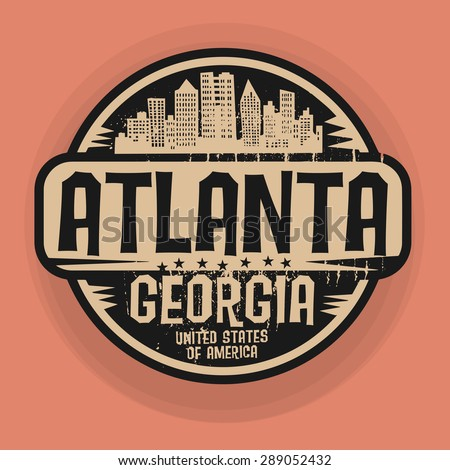 Stamp or label with name of Atlanta, Georgia, vector illustration - stock vector