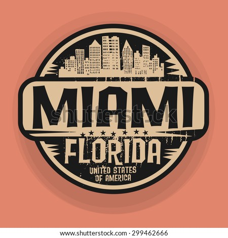 Stamp or label with name of Miami, Florida, vector illustration  - stock vector