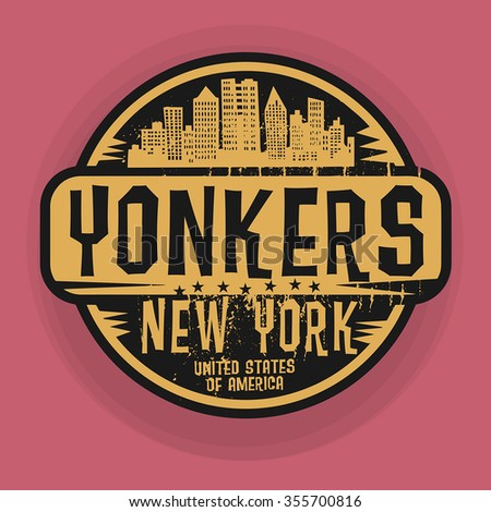 Stamp or label with name of Yonkers, New York, vector illustration - stock vector