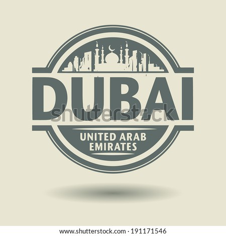 Stamp or label with text Dubai, United Arab Emirates inside, vector illustration - stock vector