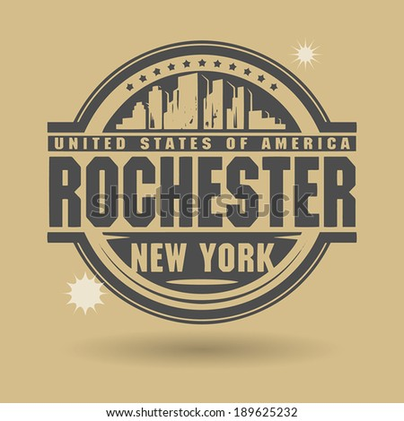 Stamp or label with text Rochester, New York inside, vector illustration - stock vector
