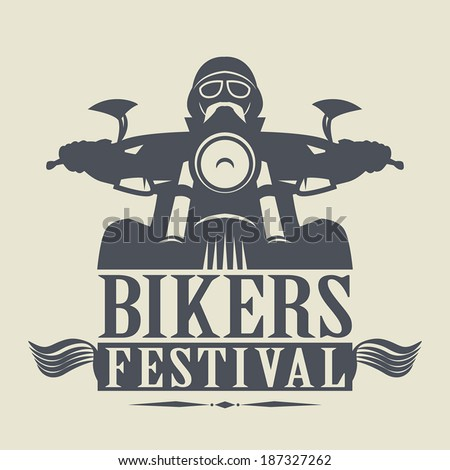 Stamp or label with the words Bikers Festival inside, vector illustration - stock vector