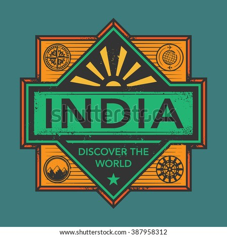 Stamp or vintage emblem with text India, Discover the World, vector illustration - stock vector