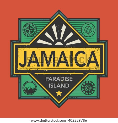 Stamp or vintage emblem with text Jamaica, Discover the World, vector illustration - stock vector