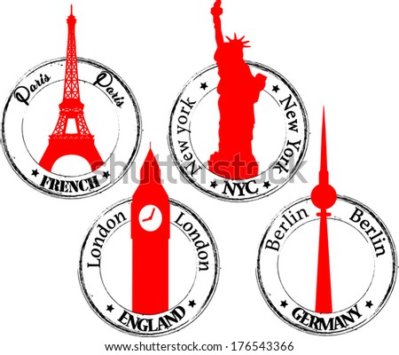 Stamp Paris, London, NYC, Berlin - stock vector