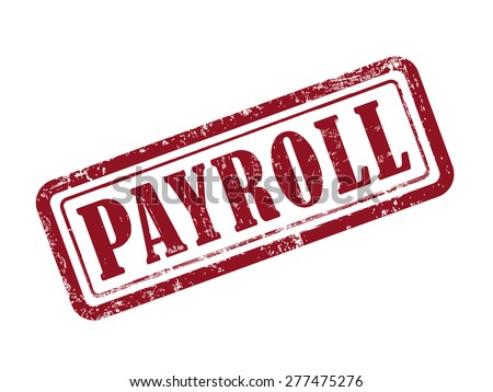 stamp payroll in red over white background - stock vector