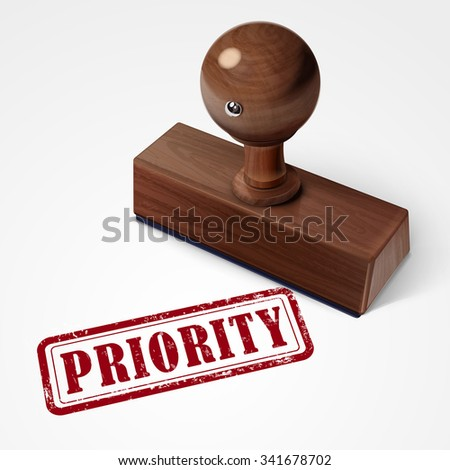 stamp priority in red over white background - stock vector