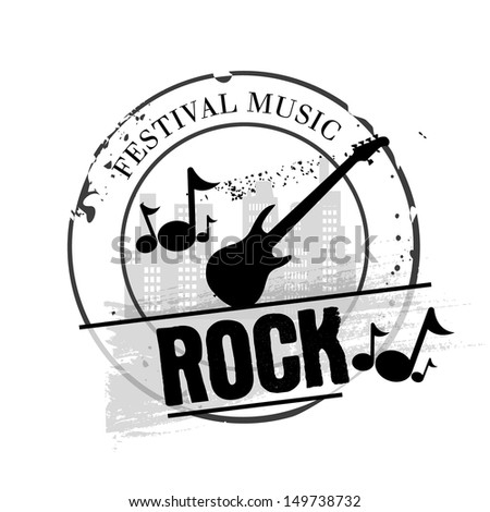 stamp rock festival music - stock vector