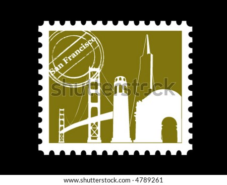 Stamp, San Francisco - stock vector
