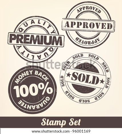 Stamp Set - A collection of ink stamps - stock vector