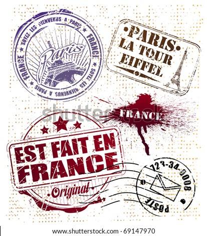 stamp set Paris - stock vector