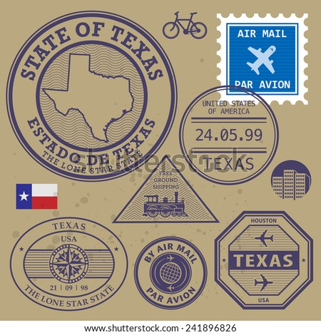 Stamp set with name and map of Texas, USA, vector illustration
