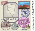 Stamp set with the name and map of Nevada, United States, vector illustration - stock vector