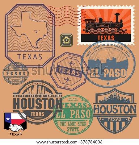 Stamp set with the name and map of Texas, United States, vector illustration - stock vector
