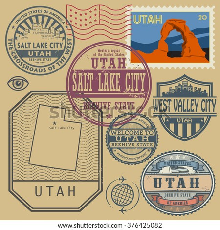 Stamp set with the name and map of Utah, United States, vector illustration - stock vector