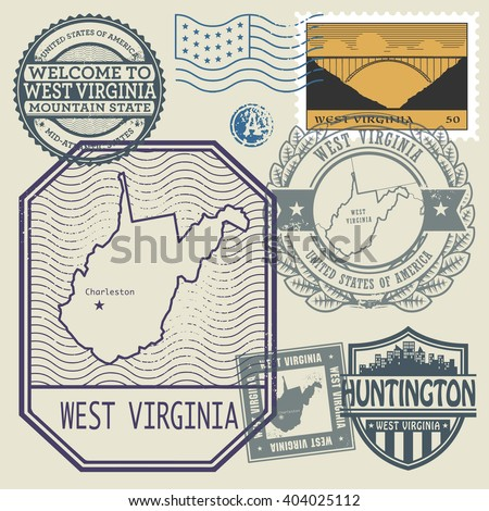Stamp set with the name and map of West Virginia, United States, vector illustration