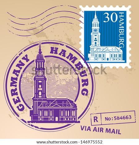 Stamp set with words Hamburg, Germany inside, vector illustration - stock vector