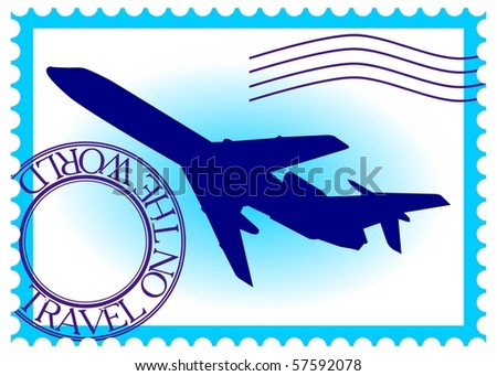 "Stamp ""travel by plane on the world"" vector eps10 - stock vector"
