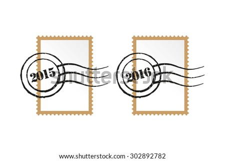 Stamp - Vector Postage Set Add your own image or message - stock vector