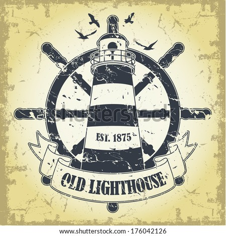 Stamp with a nautical theme  - stock vector