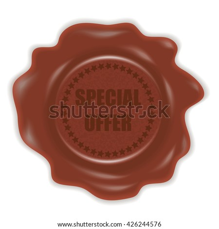 Stamp with a special offer sign. Wax seal. Vector illustration.