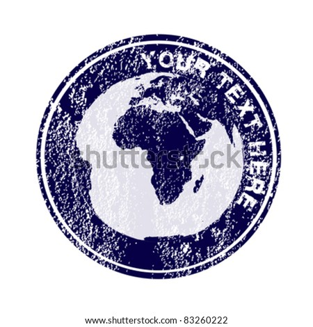 Stamp with Earth globe - stock vector