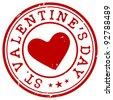 stamp with heart and the text St. Valentine's Day - stock vector
