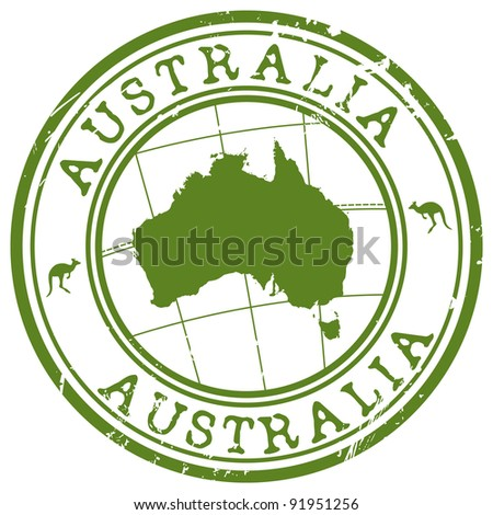 stamp with map of Australia - stock vector