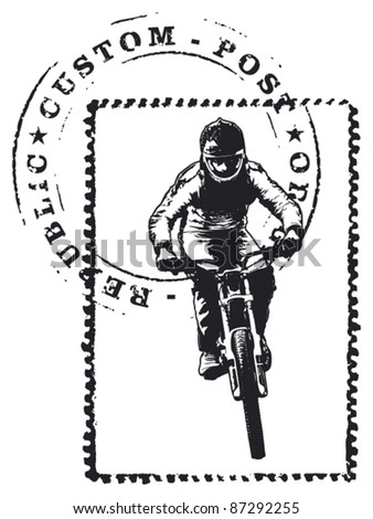 stamp with mark and bike rider