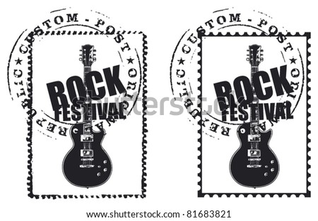 stamp with mark and rock guitar - stock vector