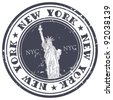 stamp with Statue of Liberty - stock photo