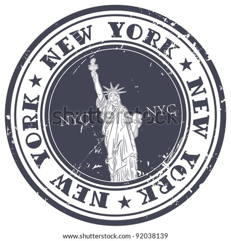stamp with Statue of Liberty - stock vector