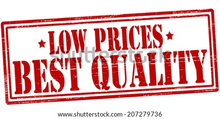 Stamp with text low prices best quality inside, vector illustration