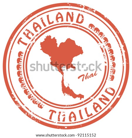 stamp with Thailand map - stock vector