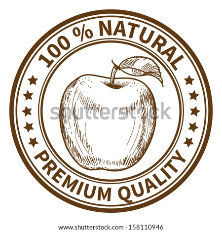 Stamp with the apple and the text 100% natural, premium quality - stock vector