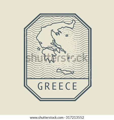 Stamp with the name and map of Greece, vector illustration - stock vector
