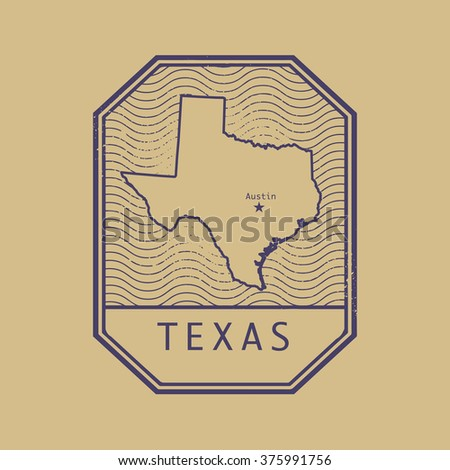 Stamp with the name and map of Texas, United States, vector illustration - stock vector