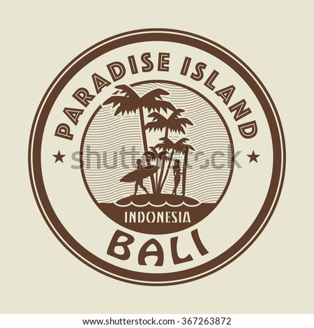 Stamp with the palm, island and words Paradise Island, Bali, written inside, vector illustration - stock vector