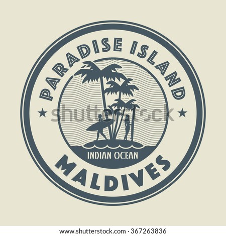 Stamp with the palm, island and words Paradise Island, Maldives, written inside, vector illustration - stock vector