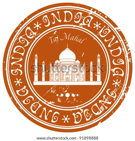 stamp with the Taj Mahal - stock vector