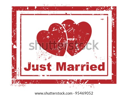 stamp with two hearts and text just married written inside - stock vector